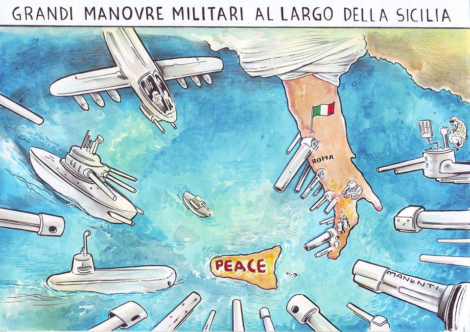 No Dynamica Manta, presidio contro le prove di guerra Usa e Nato in Sicilia